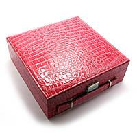 Шкатулка для бижутерии и часов с зеркальцем красная (26,5х26,5х9 см)