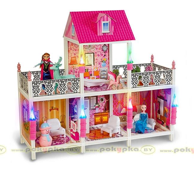 Кукольный домик Frozen 4 комнаты+2 балкона, 100 см 66906 ***