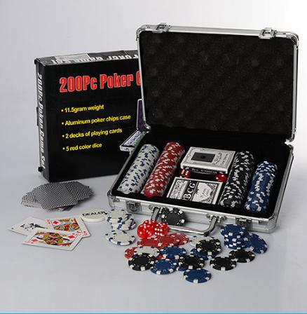 Настольная игра покер M 2777, 200 фиш без  номинала ***