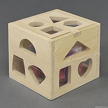 Деревянная игра Куб-Логика геометрические фигуры в коробке