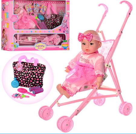 Кукла-пупс с коляской и аксессуарами 60665-T03 ***