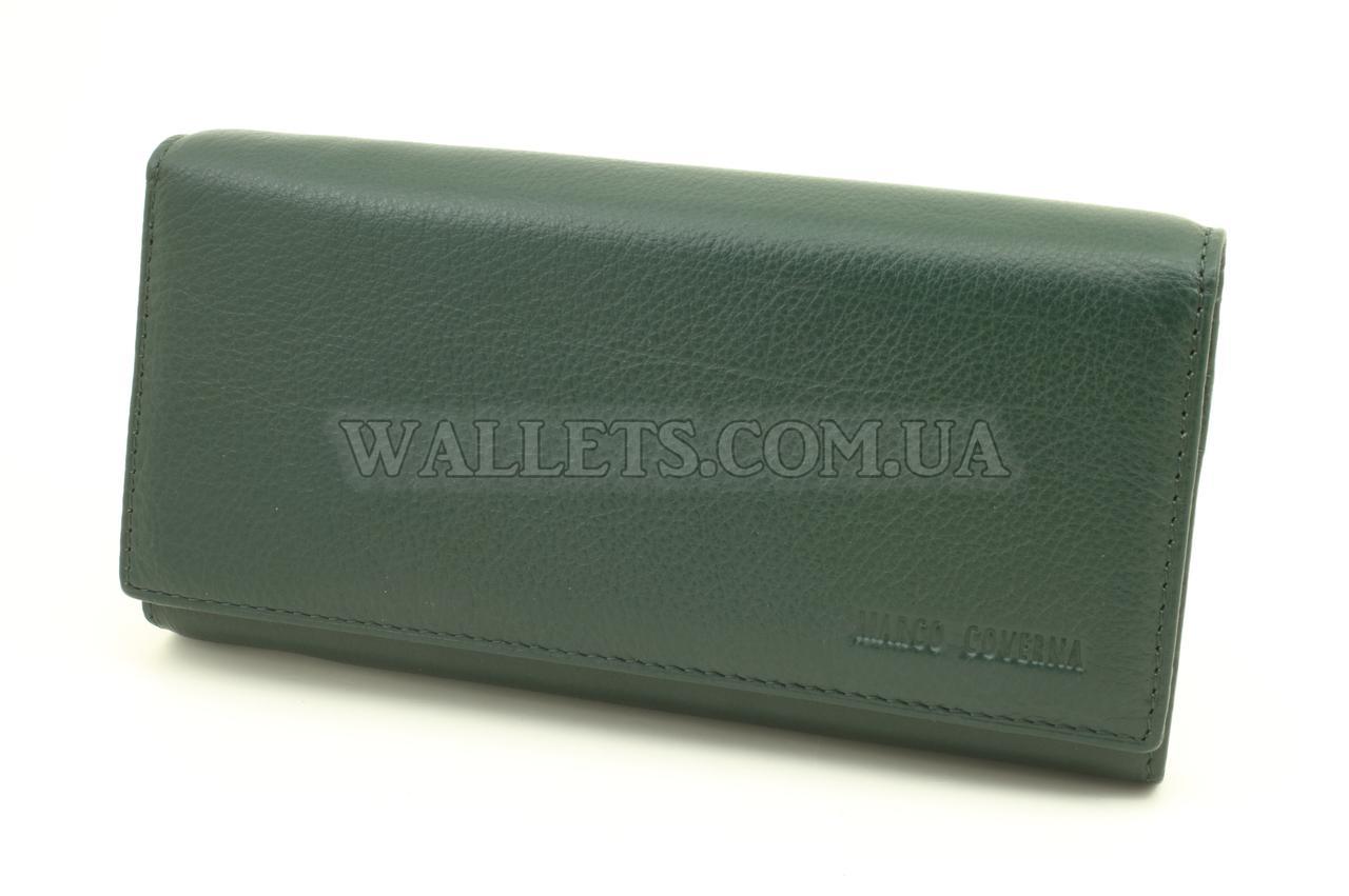 Жіночий шкіряний гаманець Marco Coverna (MC1411) на магнітах, темно-зелений