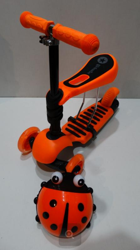 Самокат c сиденьем Scooter mini 3в1 Божья Коровка, оранжевый ***