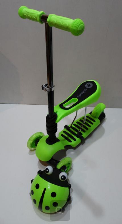 Самокат c сиденьем Scooter mini 3в1 Божья Коровка, зеленый ***