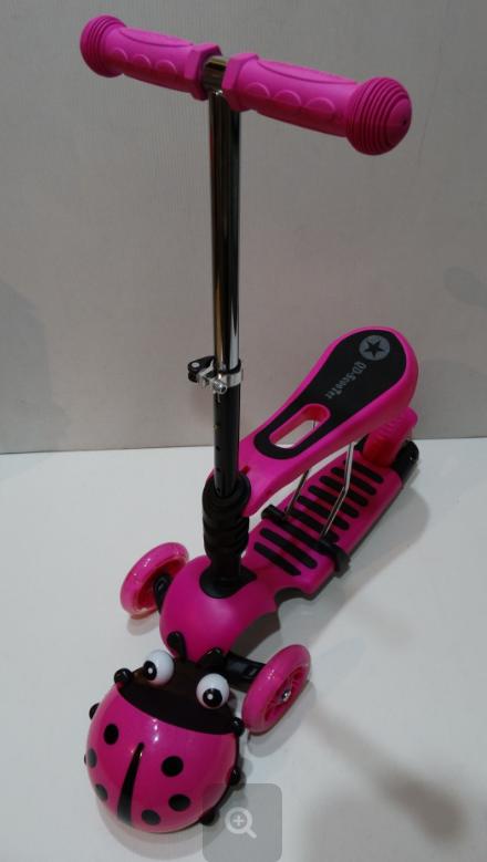 Самокат c сиденьем Scooter mini 3в1 Божья Коровка, розовый ***