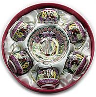 """Сервиз круглый фарфор (110 мл)(6SCS114) 6 чашек + 6 блюдец""""Фиолетовый"""" (h-5,5см, d-5см,d блюдца 11см"""