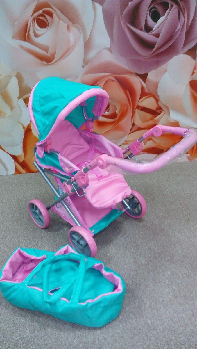 Коляска для куклы 9346 Melogo от 2 лет розовая-мятная ***