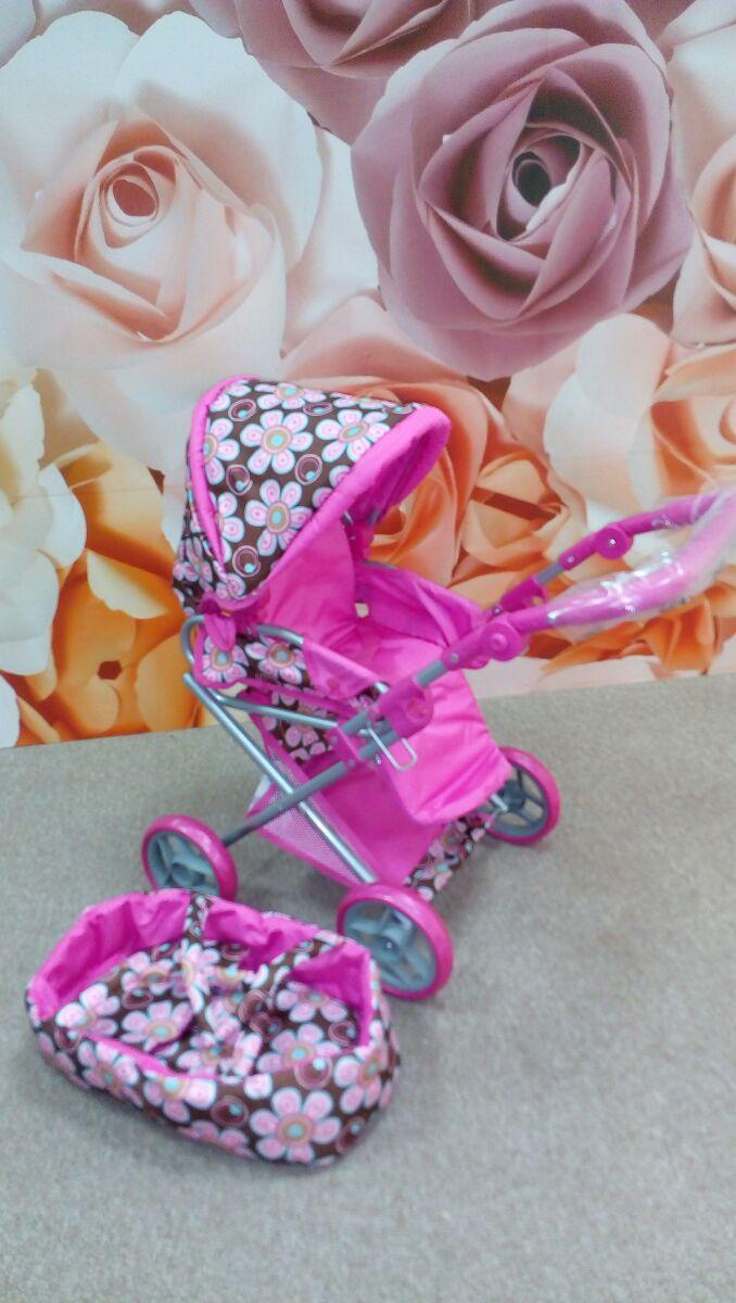 Коляска для куклы 9346 Melogo от 2 лет розовая-коричневая в цветочки