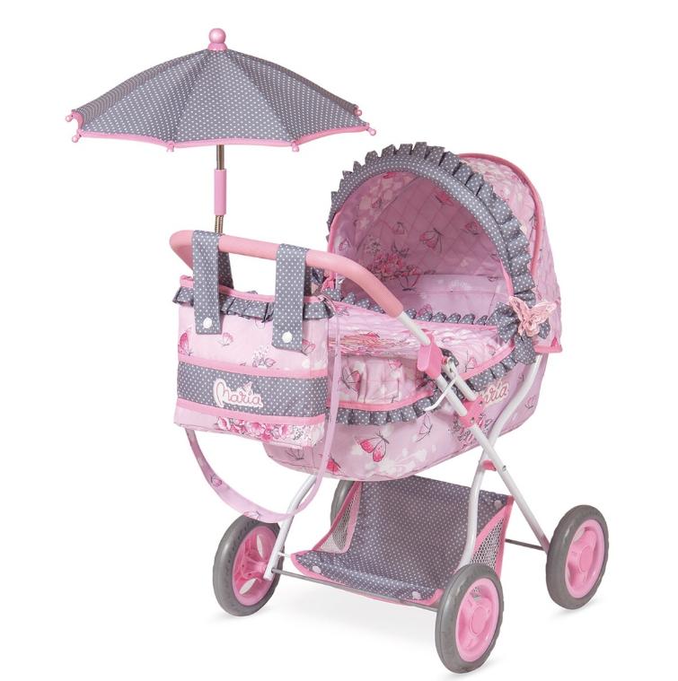 Коляска для куклы 85017 Мария с зонтиком и сумкой, розовая ***