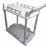 Столик сервировочный белый (массив дерева) (70х64х40 см)