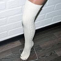 Турецкие шерстяные гетры-гольфы выше колена белого цвета