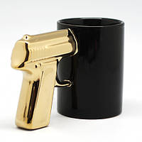 Чашка Пистолет с золотой ручкой
