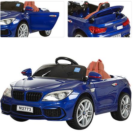 Детский электромобиль M 2773 EBR-4 BMW 7  с кожаным сиденьем, синия **