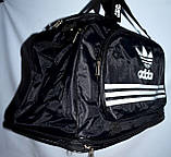 Большая черная спортивная дорожная сумка Адидас ХХL с расширением Трансформер 60*30 (60*44) см, фото 2