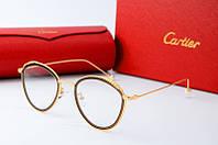 Оправа круглая Cartier золотая с коричневым, фото 1