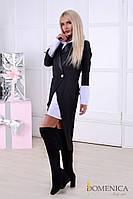 Ультрамодный костюм платье-рубашка+пиджак с длинными полами сзади (разные цвета)