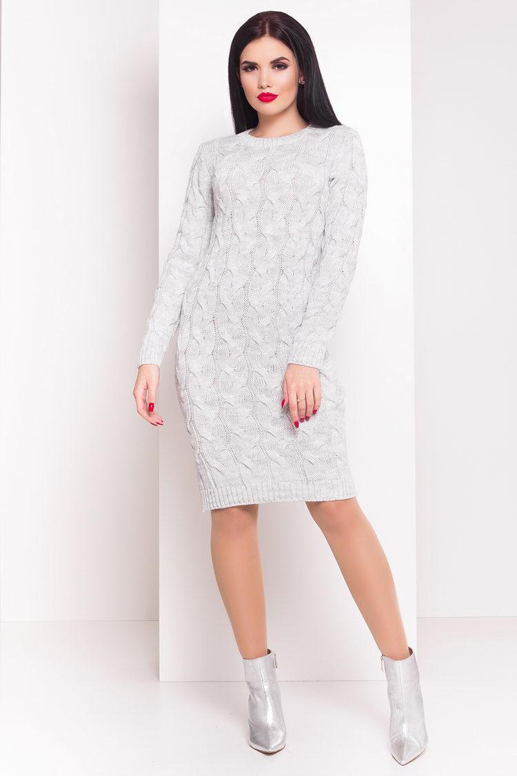 \В'язана жіноча сукня коси Лало коротке, світло-сірий