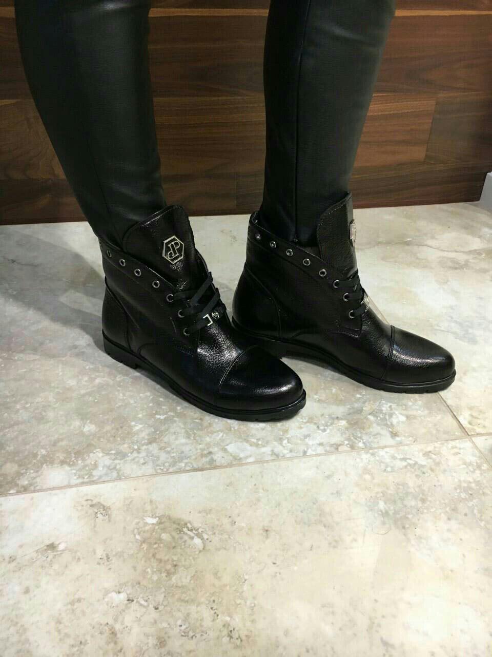 e4759982 Женские кожаные брендовые ботинки Philipp Plein черные - ГЛЯНЕЦ |  Интернет-магазин КОЖАНОЙ обуви с
