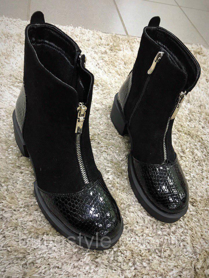 Стильные женские замшевые ботинки черные на байке, только 40 размер!
