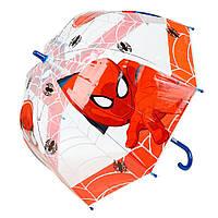 Детский зонтик механический, прозрачный Spider-Man (Человек-паук) ЭВА, длинна - 48 см, 8 спиц ТМ ARDITEX SM9852 красный