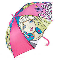 Детский зонтик полуавтомат Barbie (Барби) полиэстер, длинна - 48 см, 8 спиц ТМ ARDITEX BR9883 розовый