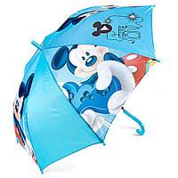 Детский зонтик полуавтомат Mickey Mouse (Микки Маус) полиэстер, длинна - 48 см, 8 спиц ТМ ARDITEX WD9737 голубой