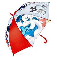 Детский зонтик полуавтомат Mickey Mouse (Микки Маус) полиэстер, длинна - 48 см, 8 спиц ТМ ARDITEX WD9737 красный