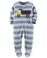 Детский флисовый синий комбинезон (слип) с Машинкой Carters Картерс для мальчика, 61,72 см (3М,9М)