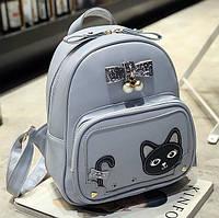 Женский мини рюкзак с котом на кармане