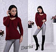 Женский прямой свитер крупной вязки с вырезом-каплей 5504253