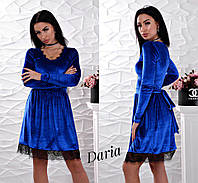 Бархатное платье с расклешенной юбкой и кружевом 5503891