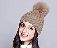 Зимние, женские, модные, вязаные шерстяные шапки из лисицы.