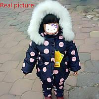 Детские зимние теплые пуховые куртки для мальчиков и девочекна утином пуху.