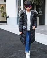 Детский длинный пуховик-парка для девочек русская зима-30 градусов на белом утином пуху..
