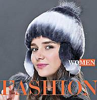 Женские вязаные шапки с мехом лисы и кролика-(двойная вязка).