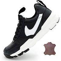 Черные мужские кожаные кроссовки Найк Nike Mars Yard 2.0 Топ качество!