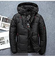 Модные зимние мужские куртки–пуховики на 90% на белом утином пуху