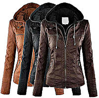 Модные кожаные зимние женские куртки (Бомбер) европейского покроя.