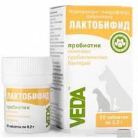 Прибиотик для восстановления микрофлоры кишечника, улучшения пищеварительных процессов для собак и кошек Лактобифид 20таб