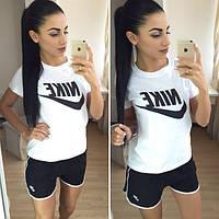 """Женский стильный костюм """"Nike"""": футболка и шорты (2 цвета) белый/черный, С"""
