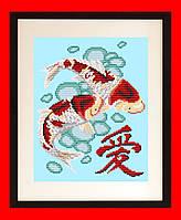"""Схема, частичная вышивка бисером, габардин, """"Любовь"""" (""""Китайский иероглиф"""", """"Карпы"""")"""