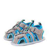 Летние пинетки антискользящие для мальчика (обувь на первый шаг, размер 10,5 см) ТМ Berni Серо-голубой