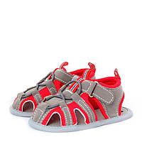 Летние пинетки антискользящие на липучках для мальчика (обувь на первый шаг, размер 10,5 см) ТМ Berni Серо-красный