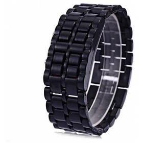 Цвет конфеты светодиодные часы с Дата функция кожаный ремешок - Чёрный