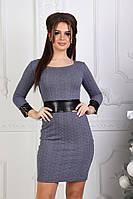 Платье мини с экокожа вставками 032 (СВИК)
