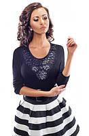 Женская нарядная блуза черного цвета из вискозы. Модель 18046 Enny.