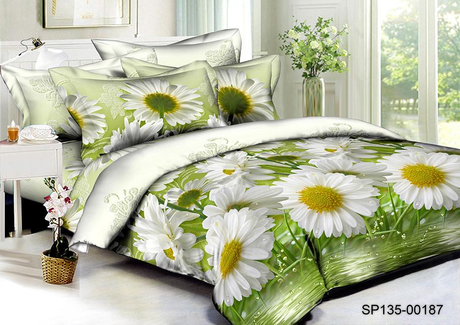 Двуспальный комплект постельного белья 180*220 из полисатина Роса ромашек