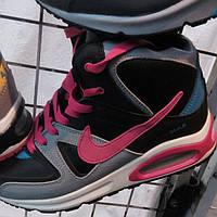 Женские кроссовки Найк аир макс три балона лицензия кожа на меху с розовыми вставками