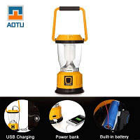 AOTU LSC-9028 солнечный USB аккумуляторный фонарь для кемпинга Жёлтый