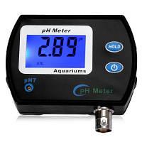Цифровой тестер pH с ЖК дисплеем для контроля качества воды в аквариуме Чёрный